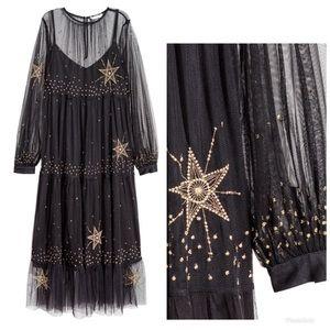 H&M Sheer Mesh Maxi Star 🌟 Dress